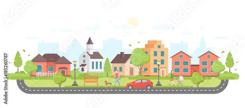 Fotografija Residential area - modern flat design style vector illustration