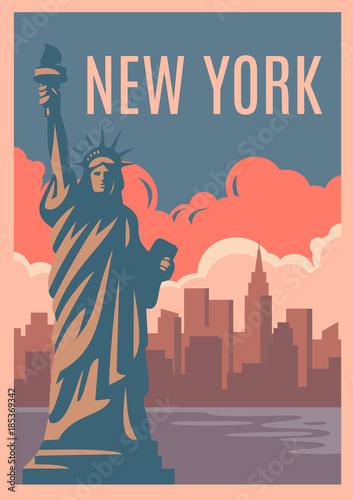 Plakat retro w Nowym Jorku.