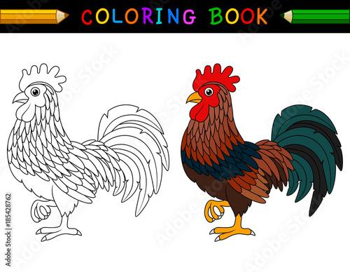 Cartoon rooster coloring book Fototapeta
