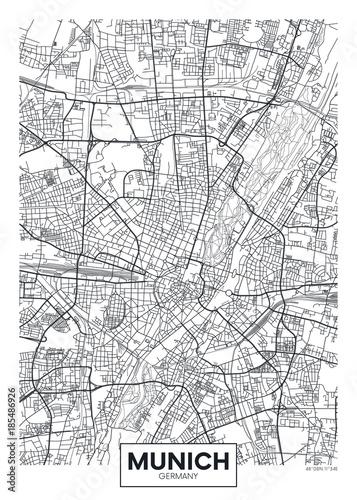 Obraz na plátně Detailed vector poster city map Munich