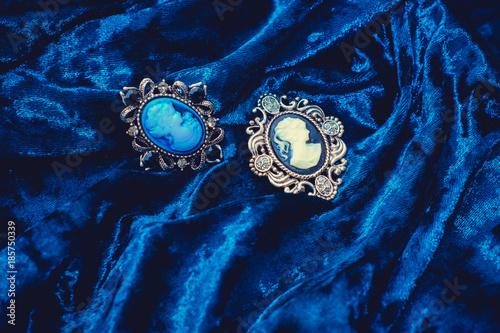 Obraz na płótnie Ancient Victorian brooch lady with camellias
