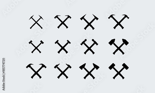 Photo Set of Different Hammer Silhouette vector