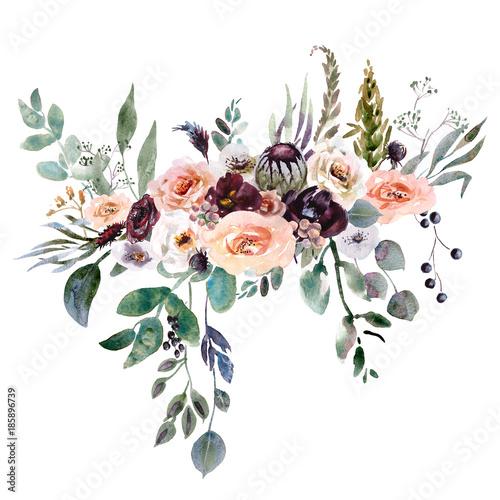 Foto Wedding bridal bouquet. green and purple flowers ornament