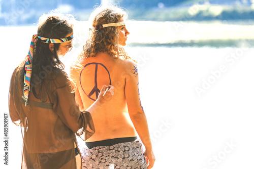 Fototapeta Beautiful free hippie girls
