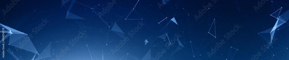 Dark blue plexus panoramic hero background