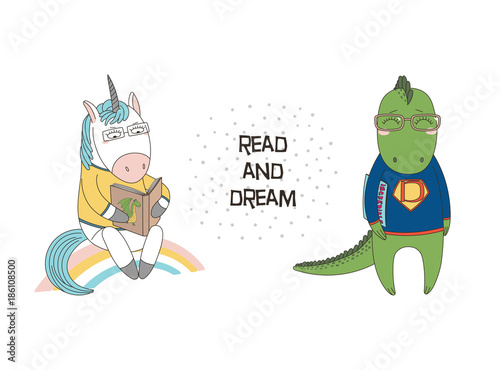 Hand drawn vector illustration of a cute funny cartoon unicorn reading a book, dragon in glasses and sweatshirt, holding a comic, text. Isolated objects. Design concept for children, geek culture.