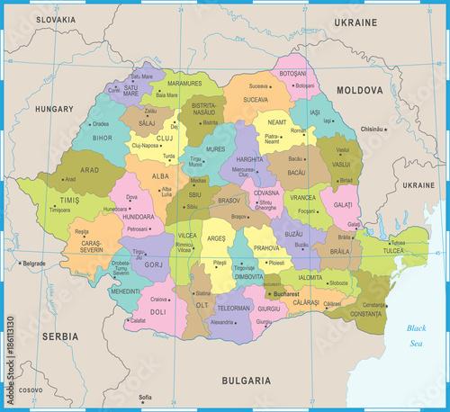 Canvas Print Romania Map - Detailed Vector Illustration
