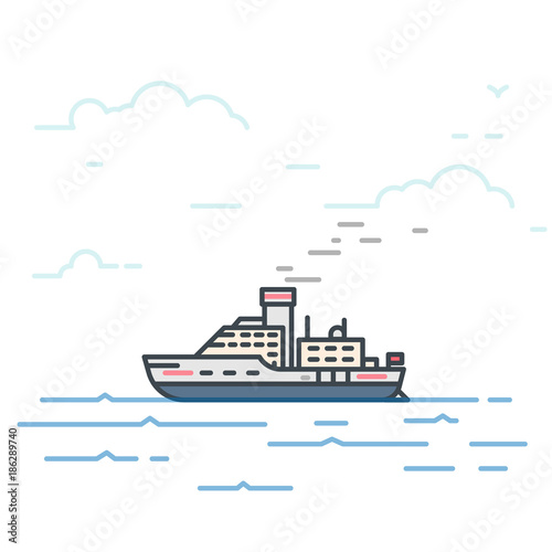 Wallpaper Mural Motor vessel ship with steam pipe in the sea