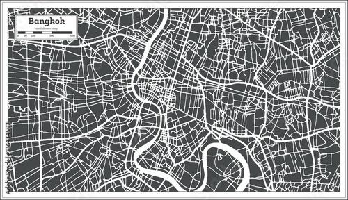 Fotografie, Obraz Bangkok Thailand City Map in Retro Style. Outline Map.