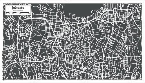 Obraz na plátně Jakarta Indonesia City Map in Retro Style. Outline Map.