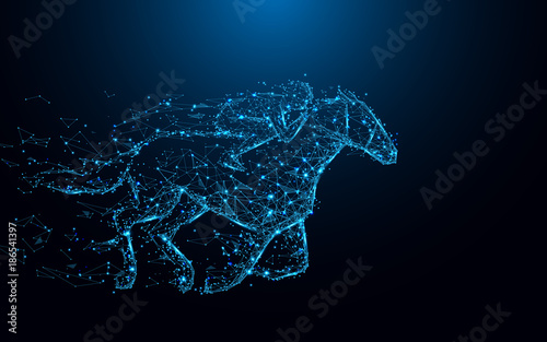 Valokuvatapetti Abstract Jockey on horse form lines and triangles, point connecting network on blue background