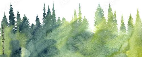 Obraz na plátně watercolor landscape with trees