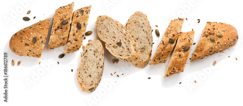 Tableau sur Toile Grain bread with seeds.Above view.