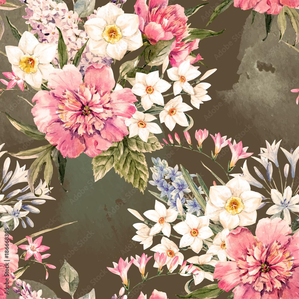 Akwarela wektor wzór kwiatowy <span>plik: #186668305 | autor: zenina</span>
