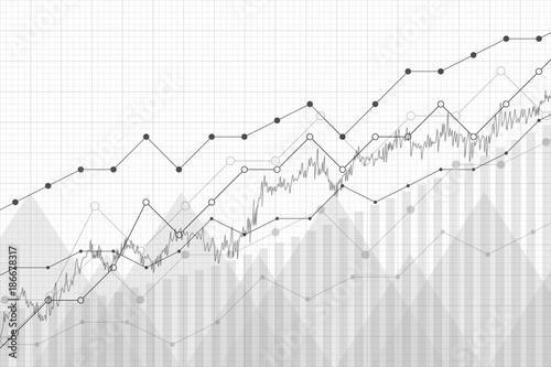 Obraz na płótnie Financial data graph chart, vector illustration