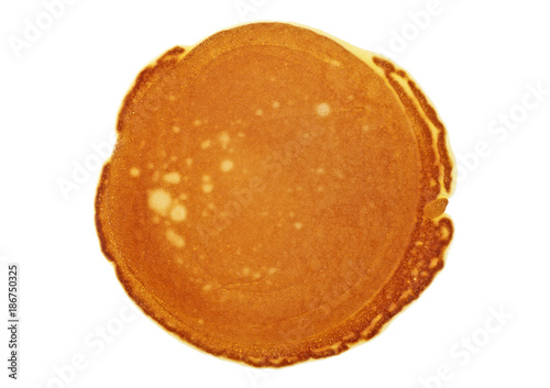 Tasty pancake isolated on a white background, top view