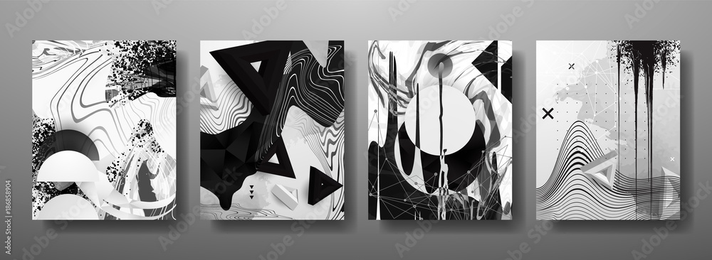 Abstrakcyjne płynne, linie i kształty kreatywne szablony, karty, zestaw kolorowych okładek. Geometryczny wzór, płyny, kształty. Modna kolekcja wektor. <span>plik: #186858904   autor: Gluiki</span>