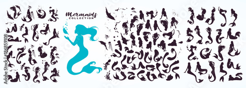 Photo Set: ink sketch collection of mermaids and siren creator, isolated on white
