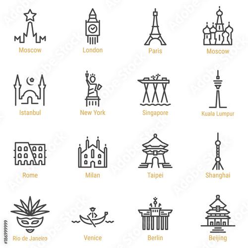 World Landmarks - Vector Line Icon Set - Part I Fototapeta