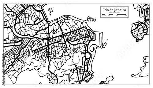 Fotografie, Obraz Rio de Janeiro City Map in Black and White Color.