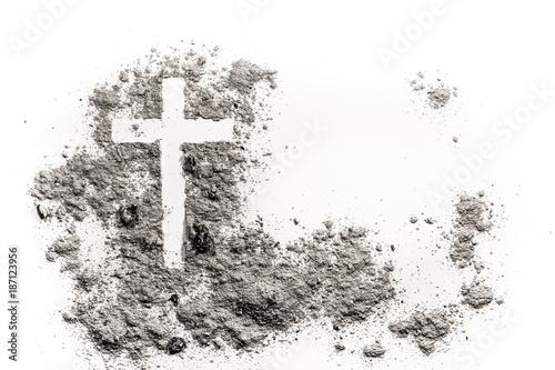 Fotografija Christian cross or crucifix drawing in ash, dust or sand