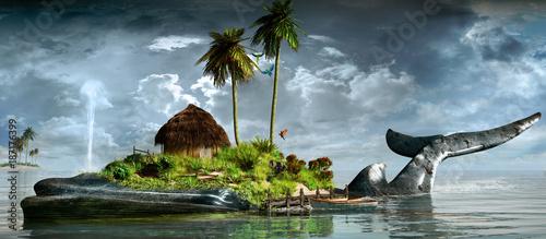Fotografie, Obraz Island on the back of a whale