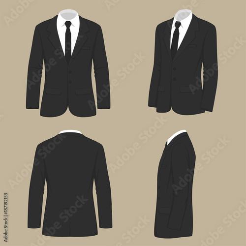 Canvas-taulu vector illustration of a men fashion, suit uniform, back side view of jacket