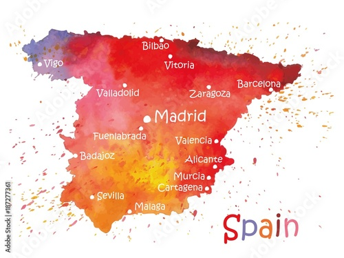 Canvas Print Stylized map of Spain