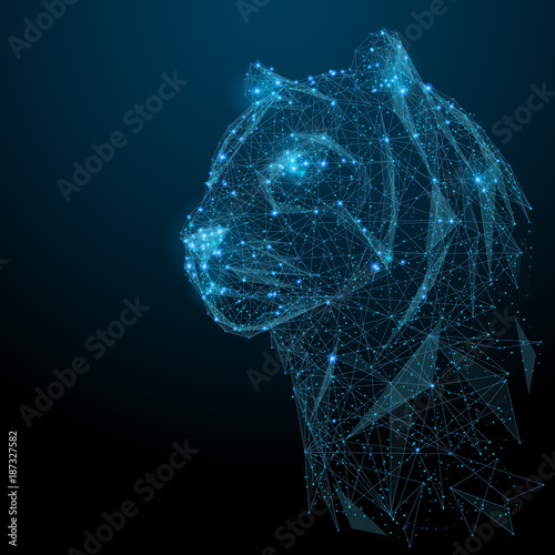 Photo Abstract image of tiger in the form of a starry sky or space, consisting of points, lines, and shapes in the form of planets, stars and the universe