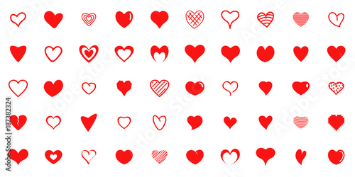 Tablou Canvas Design red heart shapes icons set