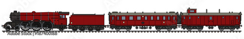 Photo The vintage red passenger steam train