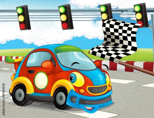 cartoon śmieszne i szczęśliwe wyścigi samochodów na torze wyścigowym - ilustracja dla dzieci