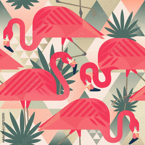 Carta da parati Exotic beach trendy seamless pattern, patchwork illustrated floral vector tropical banana leaves