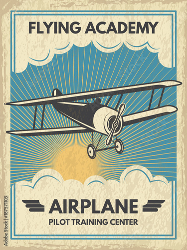 Vintage aircaft poster. Vector illustration