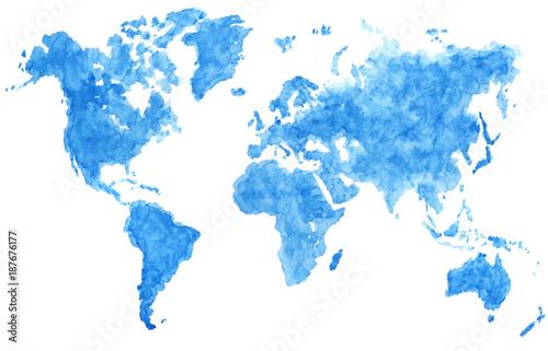 Obraz na płótnie Niebieska akwarela układająca się w kontynenty