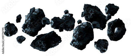 Dark rock asteroid pack 3D rendering