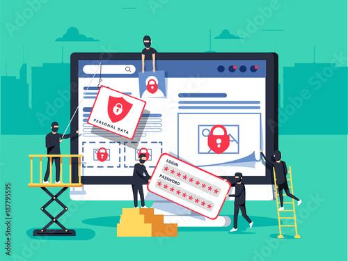 Hackers robbing computer Fototapet