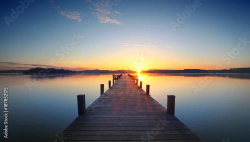 Slika na platnu Stille am Morgen am Seeufer