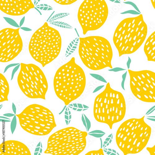 Ταπετσαρία τοιχογραφία Lemon seamless pattern vector illustration. Summer design