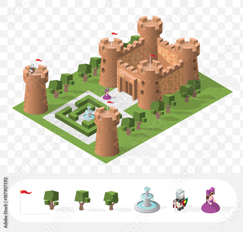 Fotografía Set of Isolated High Quality Isometric Medieval Elements