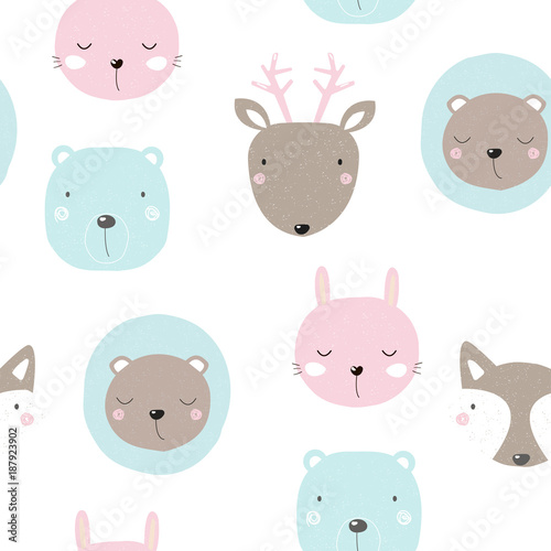 Seamless pattern with cute forest animals Poster Mural XXL