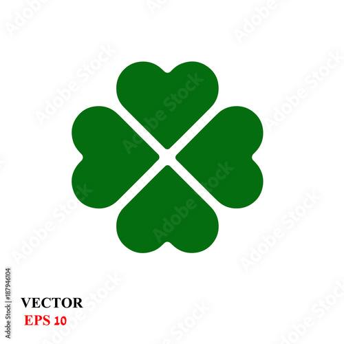 Fotomural Four leaf clover isolated on white, vector illustration for St
