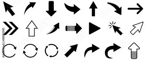 Canvas Print Black arrow vector icon pack