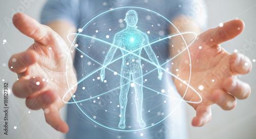 Fotografia Businessman using digital x-ray human body scan interface 3D rendering