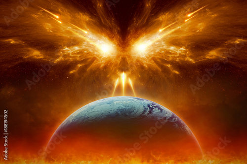 Fotografia Judgment day, end of world, complete destruction of planet Earth, absolute evil