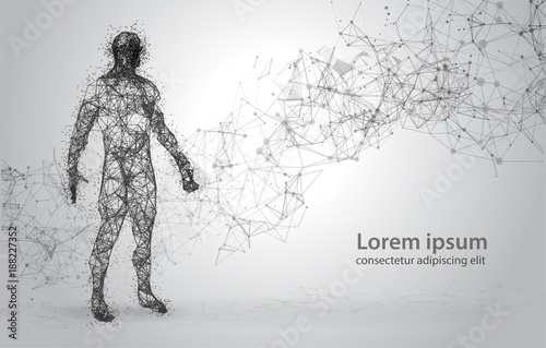 Stampa su Tela Abstract Wire frame human body