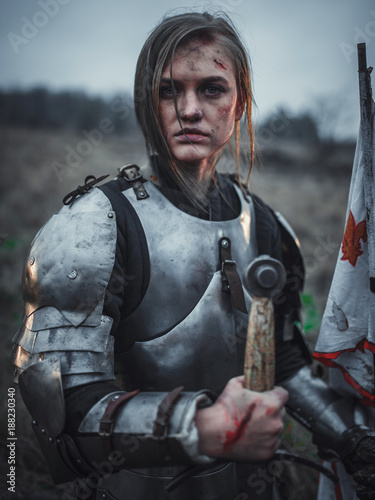 Fotografia, Obraz Portrait of girl in image of Jeanne d'Arc in armor with flag and sword in her hands on meadow
