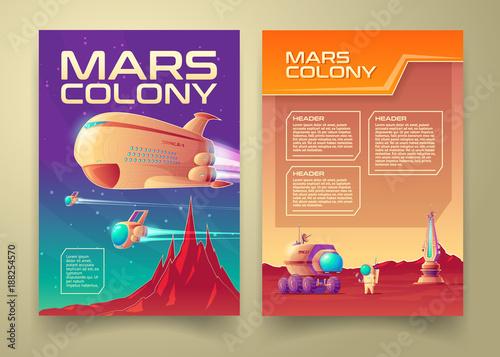 Vector mars colonization banner infographics template set Poster Mural XXL