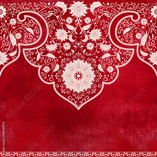 Seamless vector background. Imitation of chinese porcelain painting. Red watercolor background. Hand drawing.