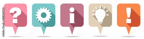 Speechbubbles Question, Work, Information, Idea & Answer Retro
